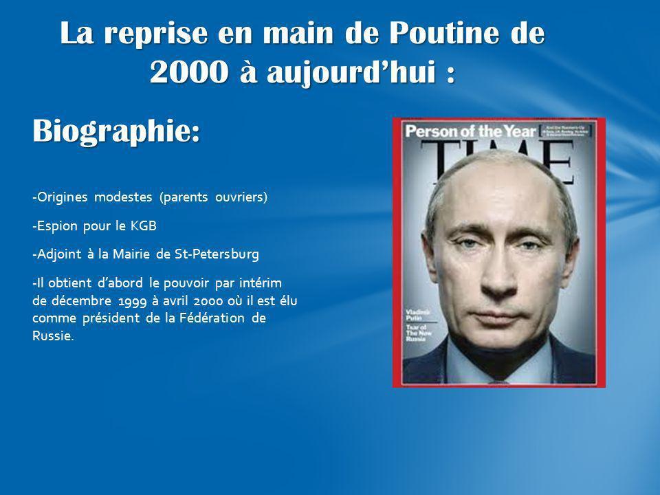 Biographie: -Origines modestes (parents ouvriers) -Espion pour le KGB -Adjoint à la Mairie de St-Petersburg -Il obtient dabord le pouvoir par intérim