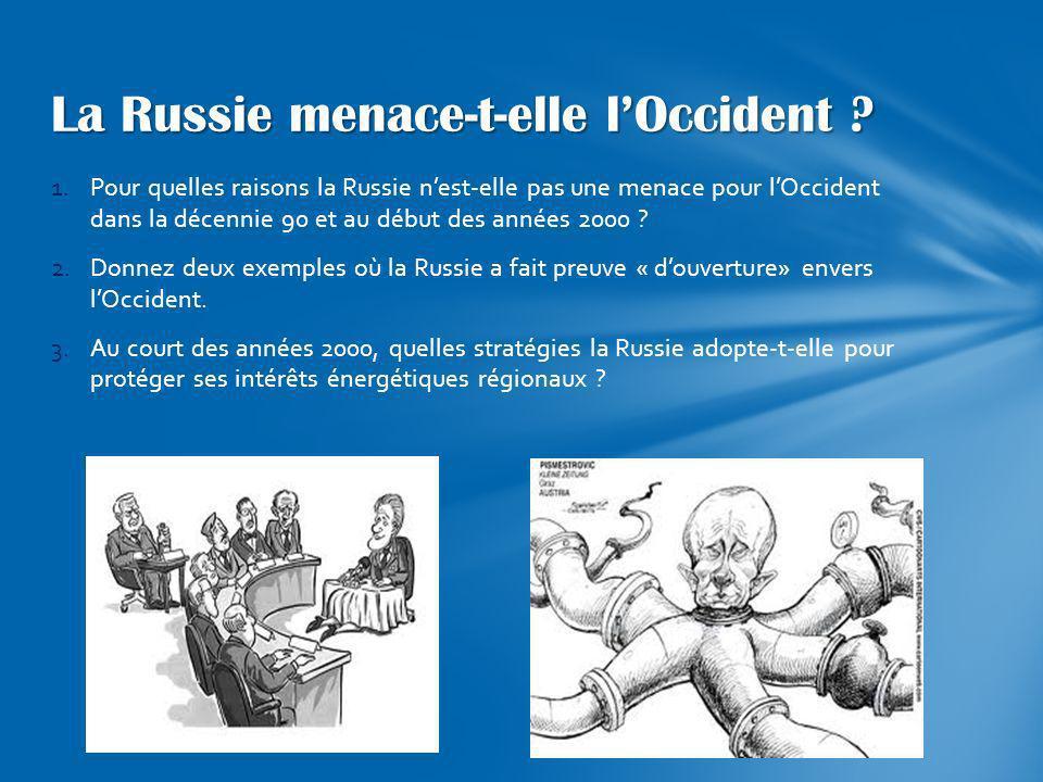 1.Pour quelles raisons la Russie nest-elle pas une menace pour lOccident dans la décennie 90 et au début des années 2000 ? 2.Donnez deux exemples où l