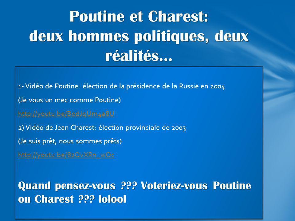 1- Vidéo de Poutine: élection de la présidence de la Russie en 2004 (Je vous un mec comme Poutine) http://youtu.be/BodJqUm4a8U 2) Vidéo de Jean Chares