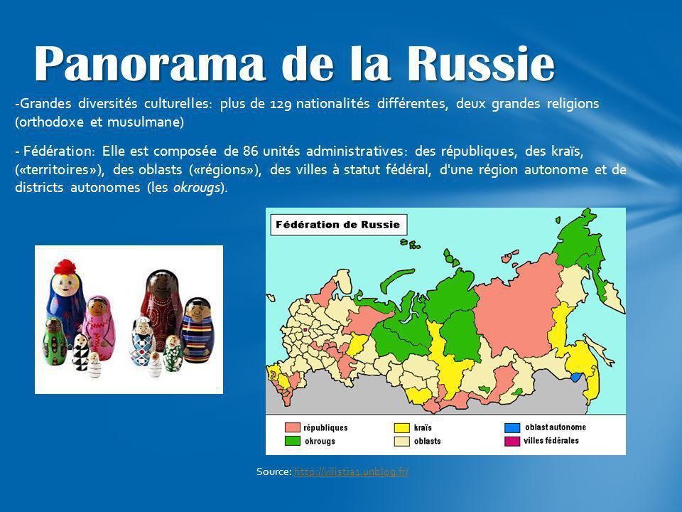 -Grandes diversités culturelles: plus de 129 nationalités différentes, deux grandes religions (orthodoxe et musulmane) - Fédération: Elle est composée