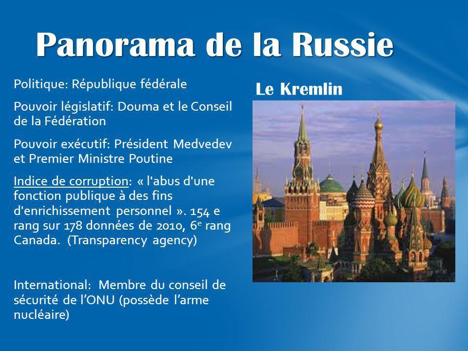 Le Kremlin Politique: République fédérale Pouvoir législatif: Douma et le Conseil de la Fédération Pouvoir exécutif: Président Medvedev et Premier Min