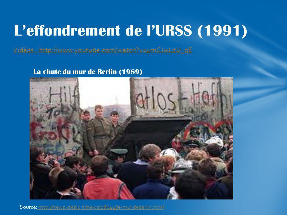 Vidéos : http://www.youtube.com/watch?v=4mCJwLzU_qE Leffondrement de lURSS (1991) La chute du mur de Berlin (1989) Source: http://news.idealo.fr/news/