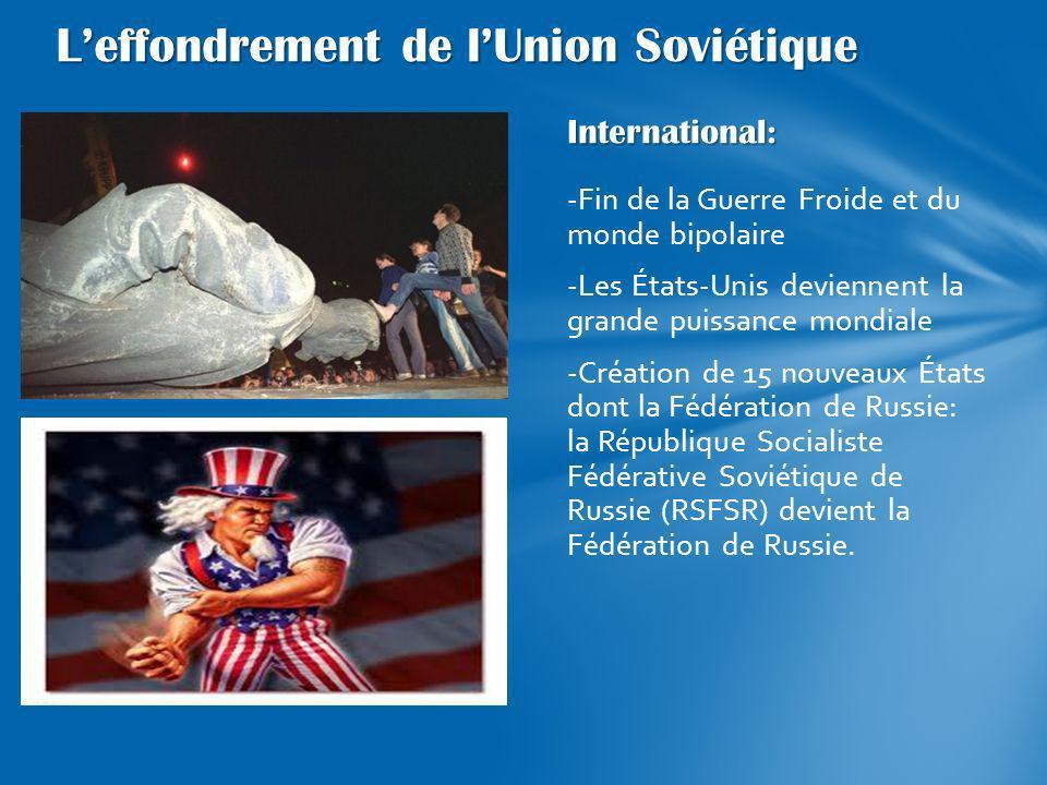 International: -Fin de la Guerre Froide et du monde bipolaire -Les États-Unis deviennent la grande puissance mondiale -Création de 15 nouveaux États d