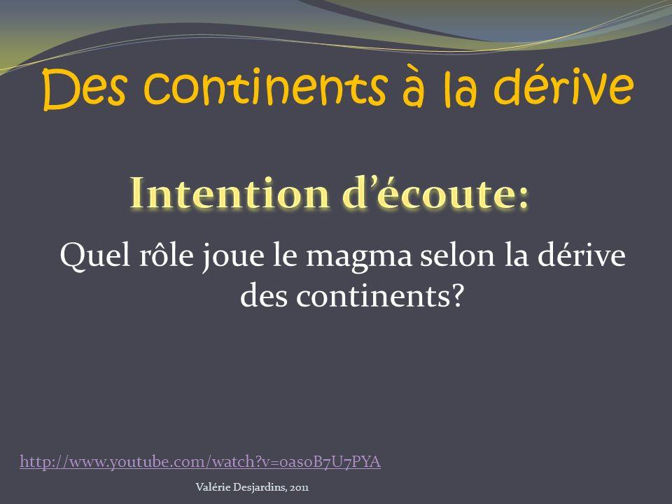 Quel rôle joue le magma selon la dérive des continents? Des continents à la dérive http://www.youtube.com/watch?v=0asoB7U7PYA Valérie Desjardins, 2011