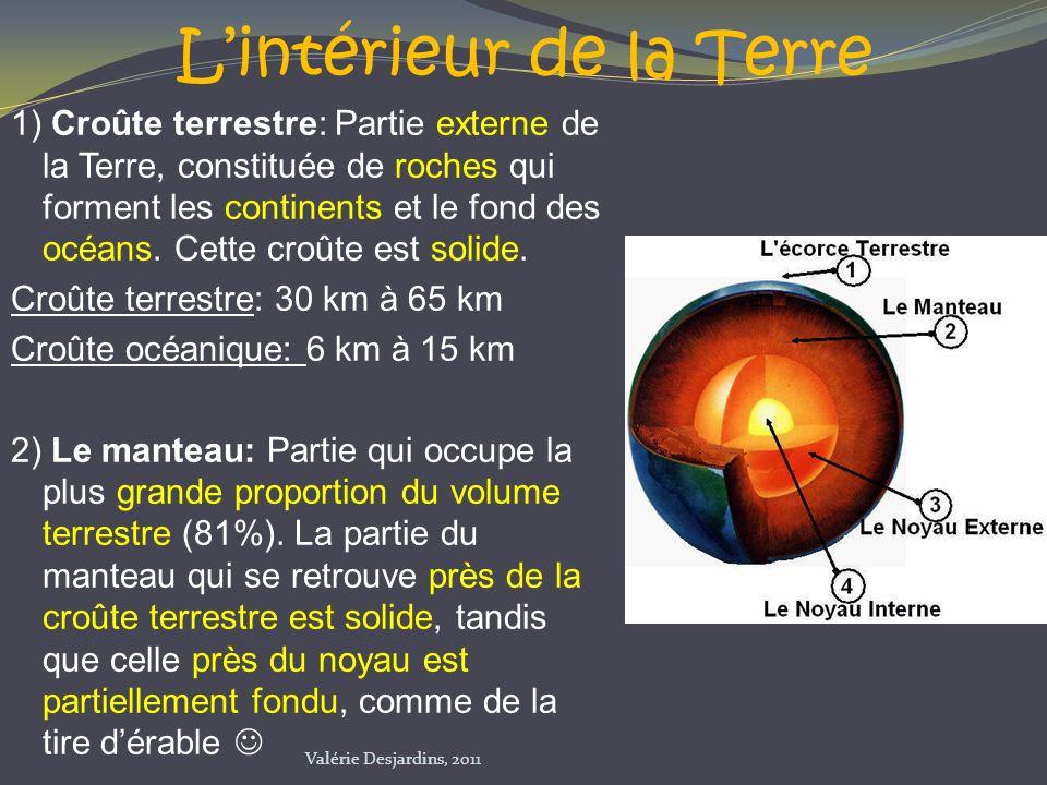 Lintérieur de la Terre 1) Croûte terrestre: Partie externe de la Terre, constituée de roches qui forment les continents et le fond des océans. Cette c