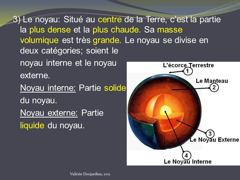 3) Le noyau: Situé au centre de la Terre, cest la partie la plus dense et la plus chaude. Sa masse volumique est très grande. Le noyau se divise en de