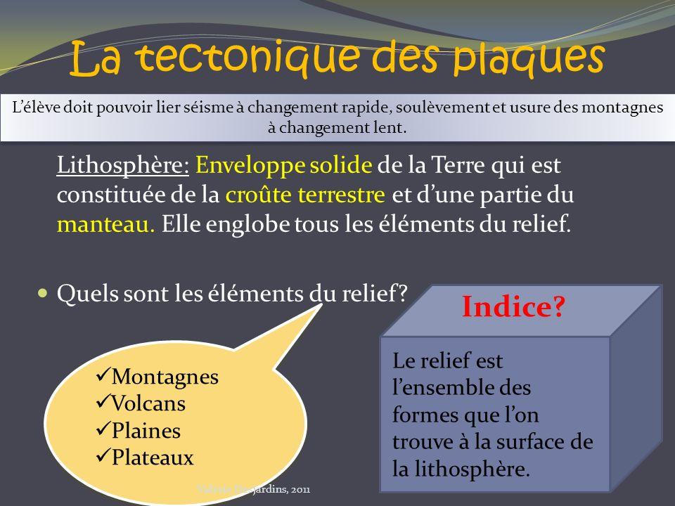 La tectonique des plaques Lithosphère: Enveloppe solide de la Terre qui est constituée de la croûte terrestre et dune partie du manteau. Elle englobe