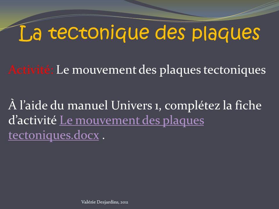 Activité: Le mouvement des plaques tectoniques À laide du manuel Univers 1, complétez la fiche dactivité Le mouvement des plaques tectoniques.docx.Le