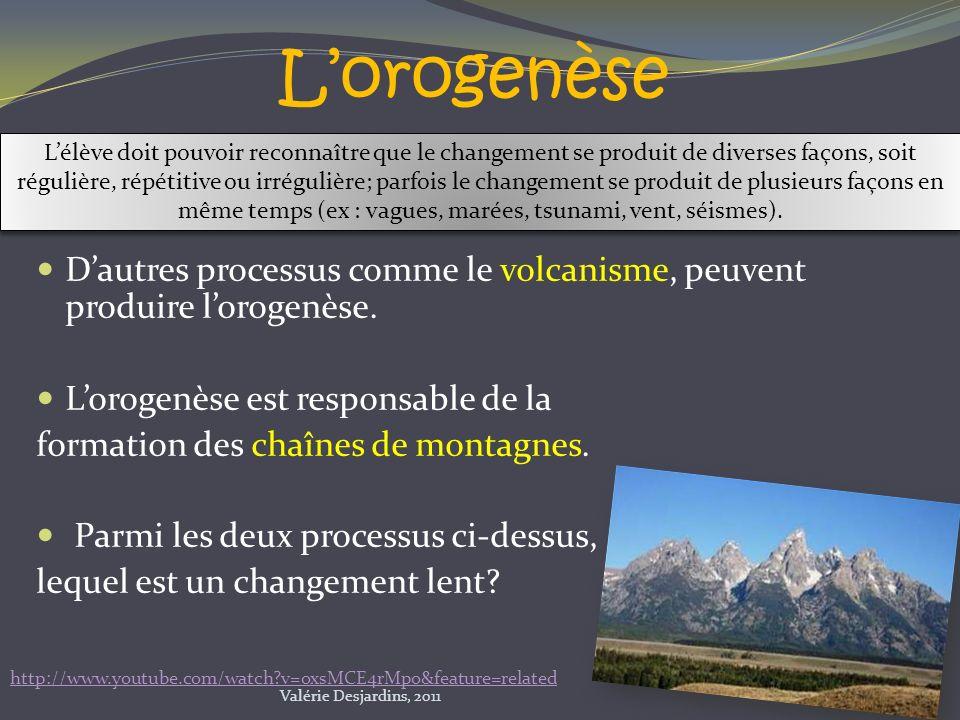 Dautres processus comme le volcanisme, peuvent produire lorogenèse. Lorogenèse est responsable de la formation des chaînes de montagnes. Parmi les deu
