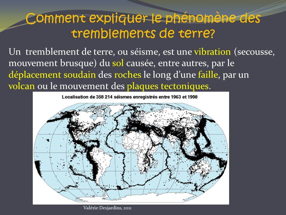 Un tremblement de terre, ou séisme, est une vibration (secousse, mouvement brusque) du sol causée, entre autres, par le déplacement soudain des roches