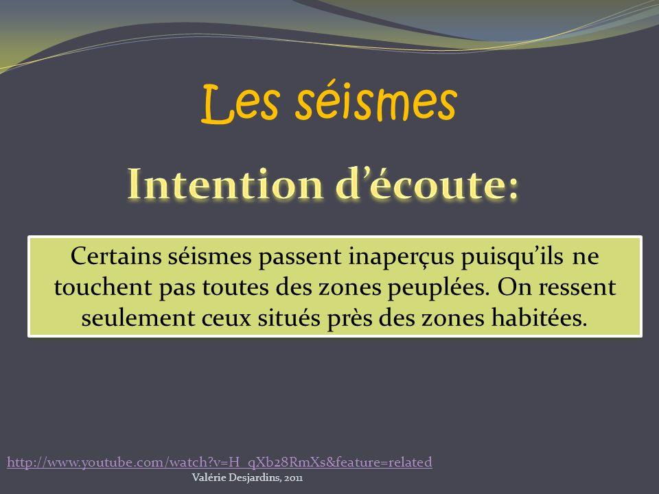 Pourquoi la majorité des séismes passent inaperçus? Valérie Desjardins, 2011 http://www.youtube.com/watch?v=H_qXb28RmXs&feature=related Les séismes Ce