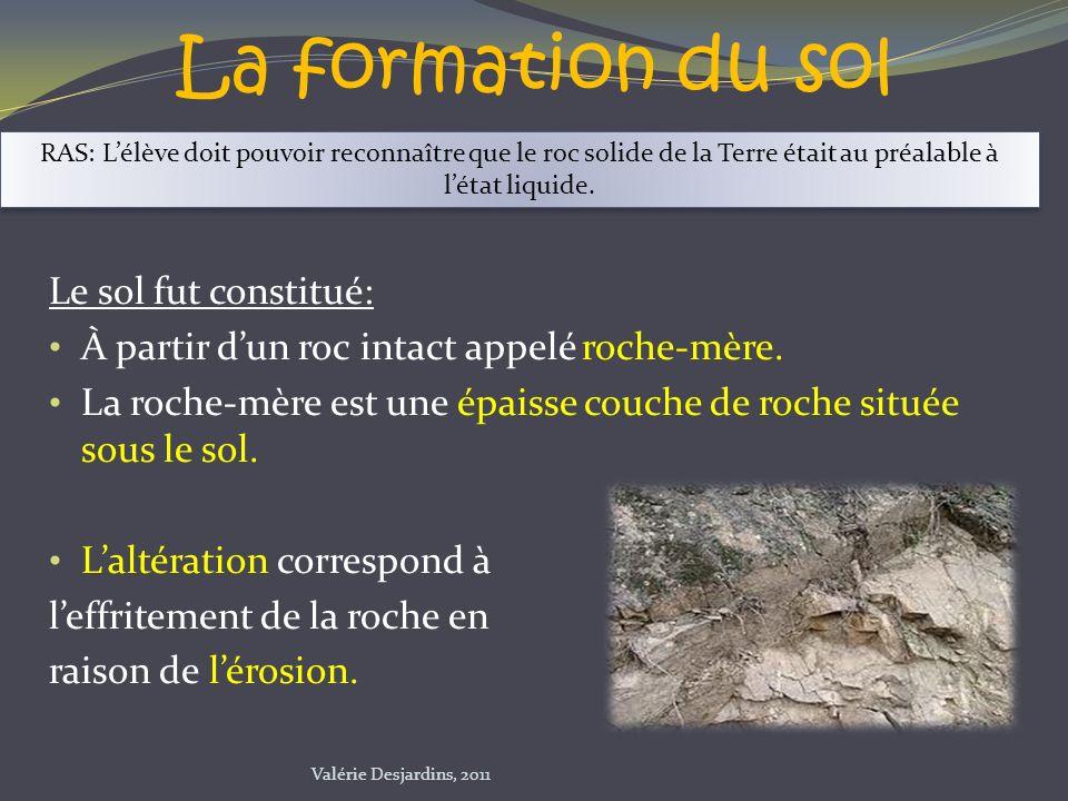 La formation du sol Le sol fut constitué: À partir dun roc intact appelé roche-mère. La roche-mère est une épaisse couche de roche située sous le sol.
