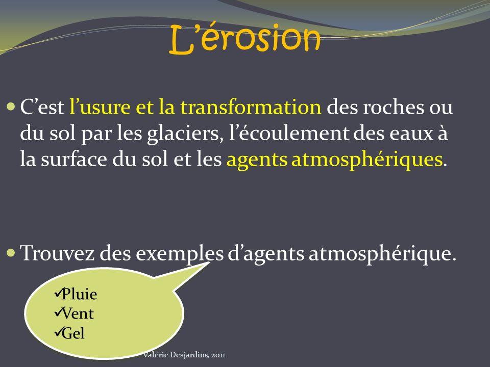 Lérosion Cest lusure et la transformation des roches ou du sol par les glaciers, lécoulement des eaux à la surface du sol et les agents atmosphériques