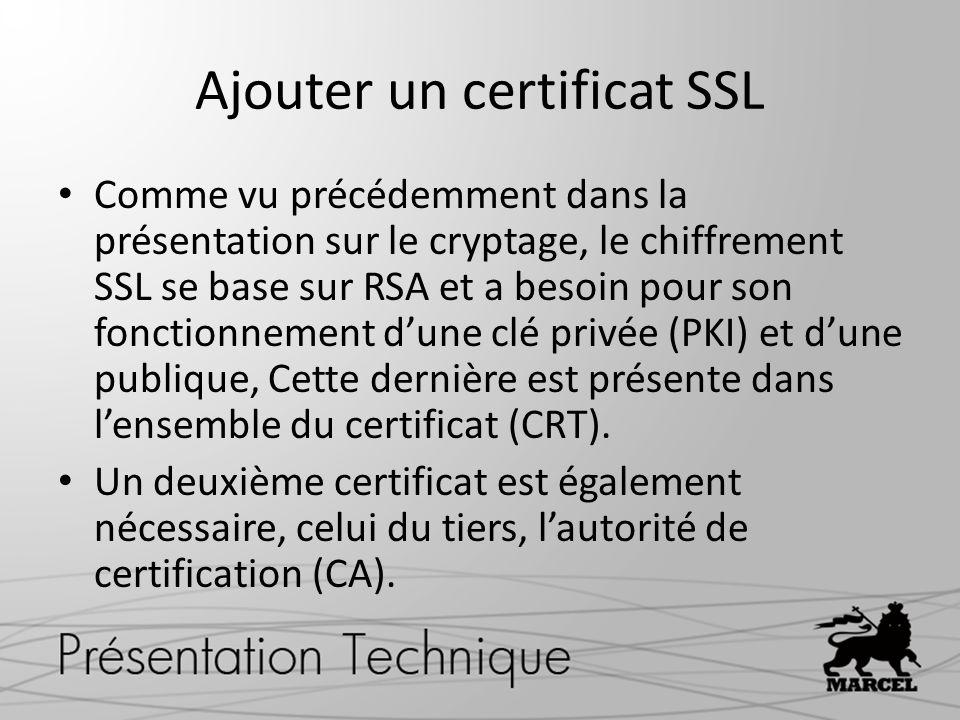 Ajouter un certificat SSL Comme vu précédemment dans la présentation sur le cryptage, le chiffrement SSL se base sur RSA et a besoin pour son fonctionnement dune clé privée (PKI) et dune publique, Cette dernière est présente dans lensemble du certificat (CRT).