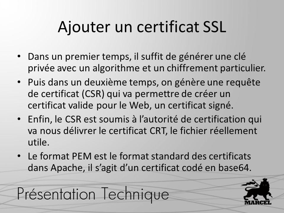 Ajouter un certificat SSL Dans un premier temps, il suffit de générer une clé privée avec un algorithme et un chiffrement particulier. Puis dans un de