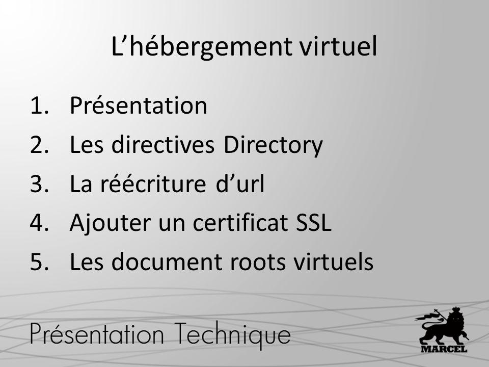 Lhébergement virtuel 1.Présentation 2.Les directives Directory 3.La réécriture durl 4.Ajouter un certificat SSL 5.Les document roots virtuels