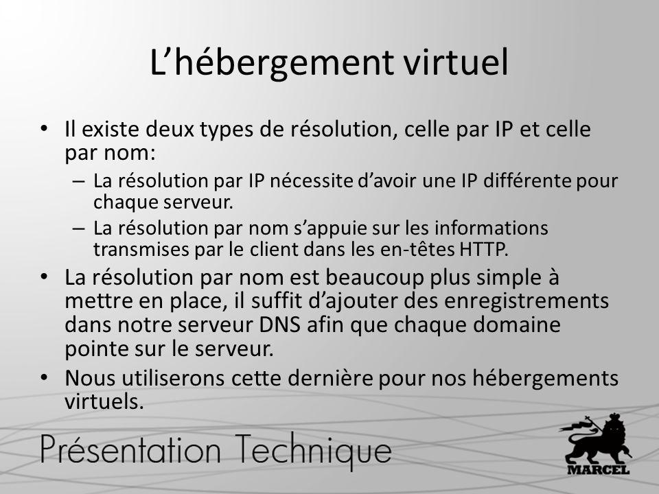 Lhébergement virtuel Il existe deux types de résolution, celle par IP et celle par nom: – La résolution par IP nécessite davoir une IP différente pour