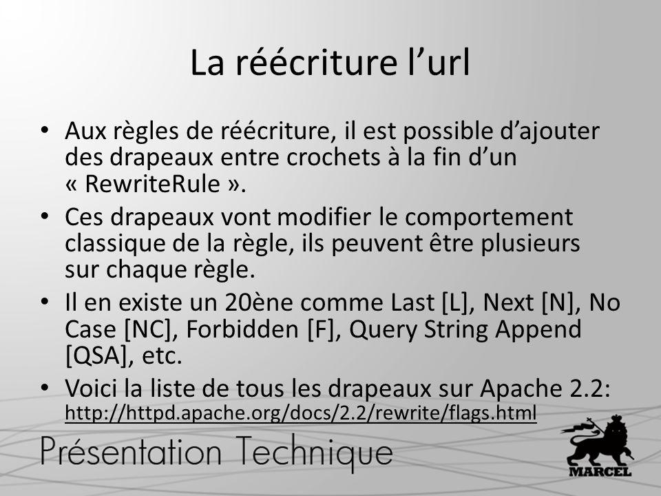 La réécriture lurl Aux règles de réécriture, il est possible dajouter des drapeaux entre crochets à la fin dun « RewriteRule ».