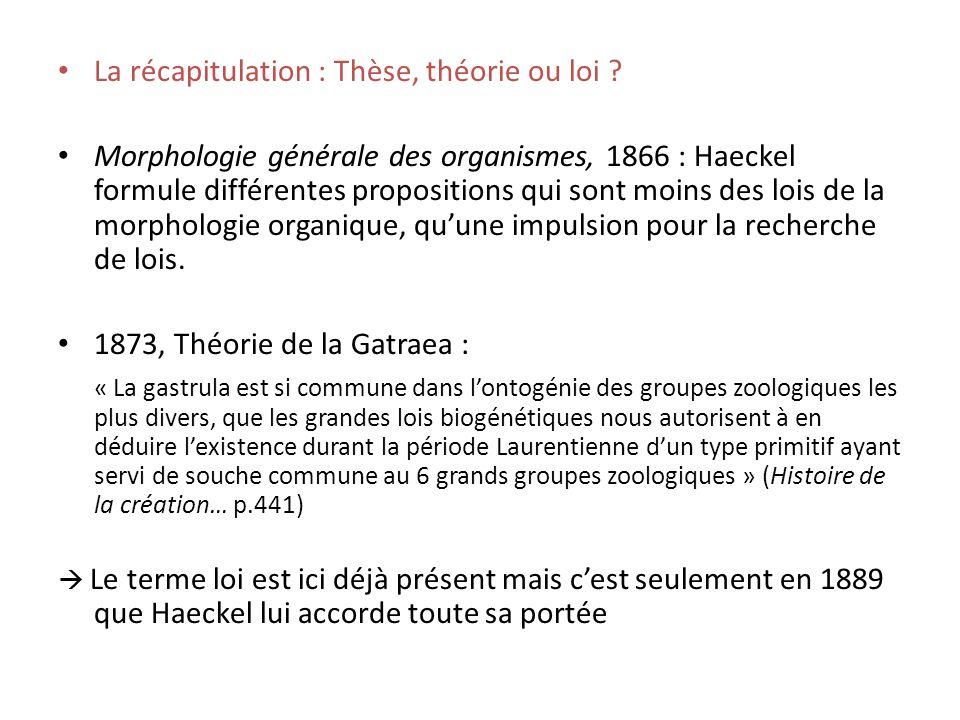 La récapitulation : Thèse, théorie ou loi .