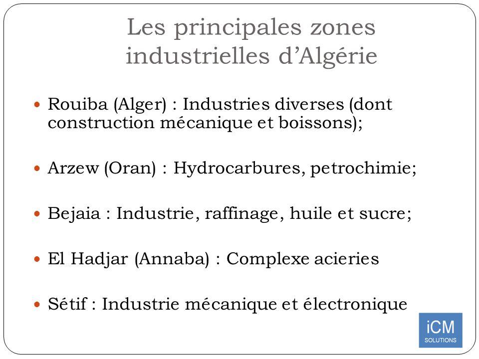 Les principales zones industrielles dAlgérie Rouiba (Alger) : Industries diverses (dont construction mécanique et boissons); Arzew (Oran) : Hydrocarbu