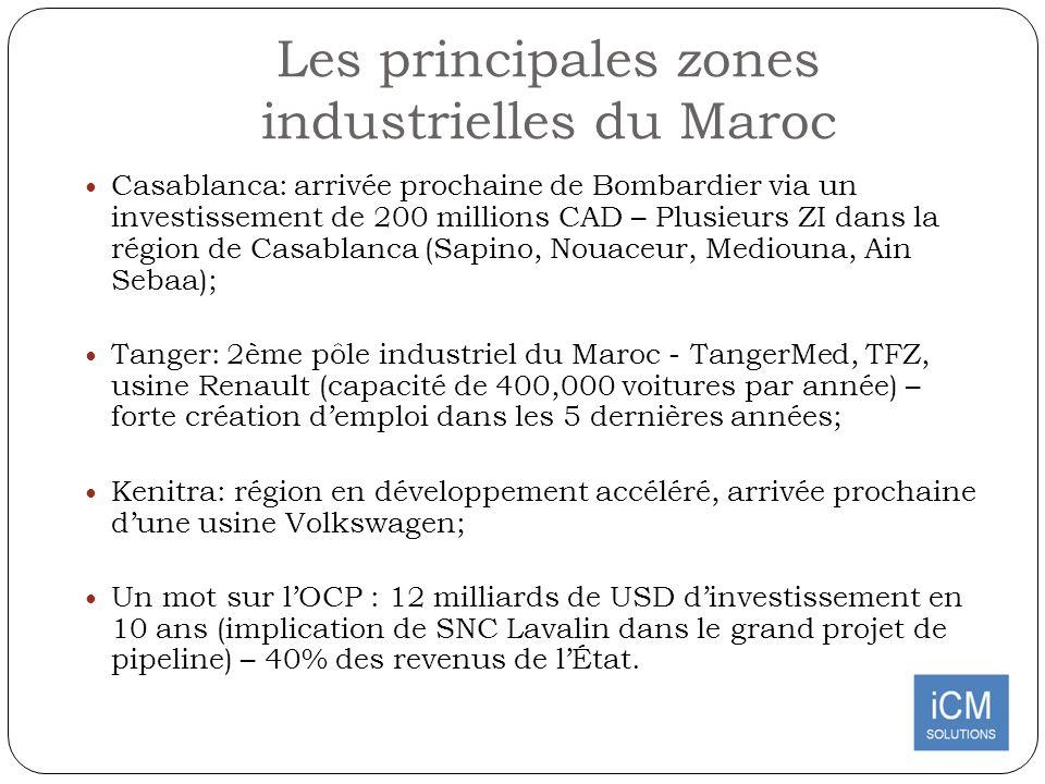 Les principales zones industrielles du Maroc Casablanca: arrivée prochaine de Bombardier via un investissement de 200 millions CAD – Plusieurs ZI dans