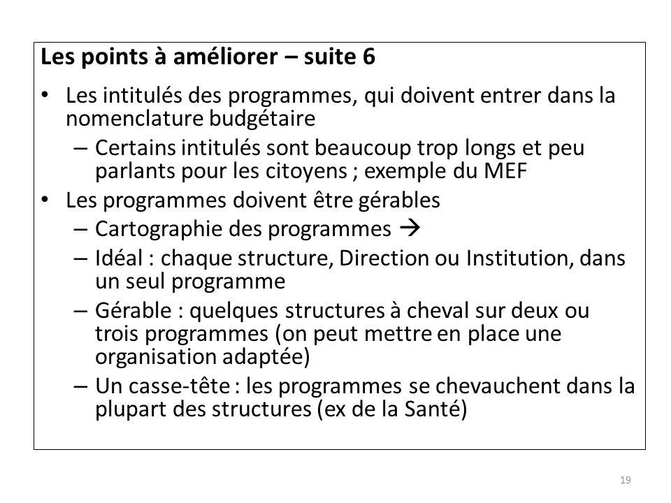Les points à améliorer – suite 6 Les intitulés des programmes, qui doivent entrer dans la nomenclature budgétaire – Certains intitulés sont beaucoup t