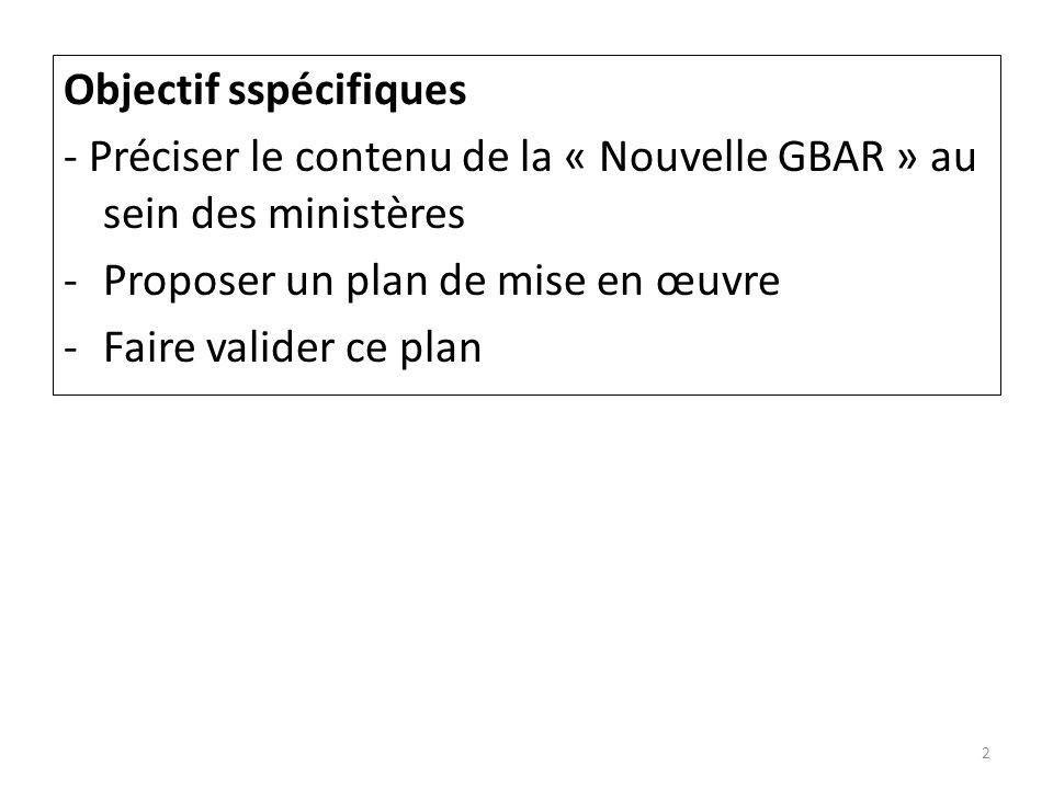 Objectif sspécifiques - Préciser le contenu de la « Nouvelle GBAR » au sein des ministères -Proposer un plan de mise en œuvre -Faire valider ce plan 2