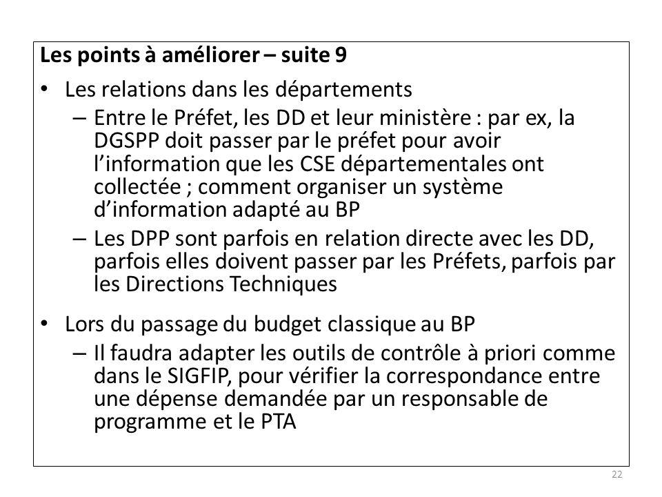 Les points à améliorer – suite 9 Les relations dans les départements – Entre le Préfet, les DD et leur ministère : par ex, la DGSPP doit passer par le