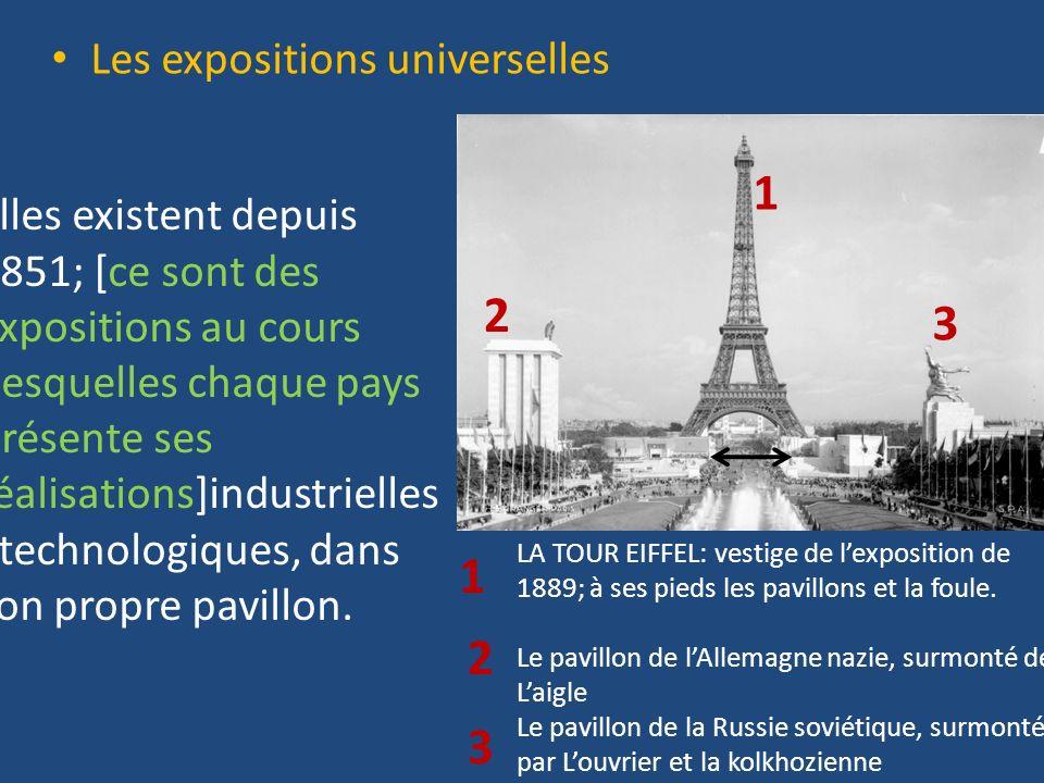 Les expositions universelles Elles existent depuis 1851; [ce sont des expositions au cours desquelles chaque pays présente ses réalisations]industriel