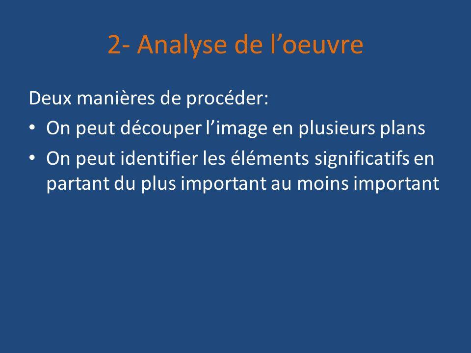2- Analyse de loeuvre Deux manières de procéder: On peut découper limage en plusieurs plans On peut identifier les éléments significatifs en partant d