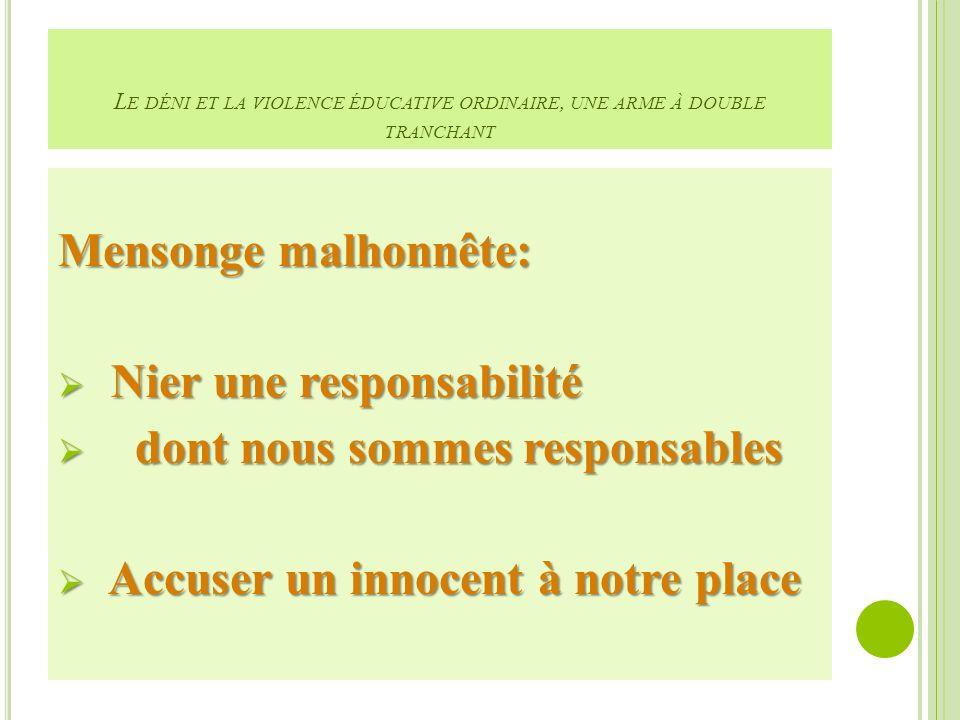 L E DÉNI ET LA VIOLENCE ÉDUCATIVE ORDINAIRE, UNE ARME À DOUBLE TRANCHANT Mensonge malhonnête: Nier une responsabilité Nier une responsabilité dont nous sommes responsables dont nous sommes responsables Accuser un innocent à notre place Accuser un innocent à notre place