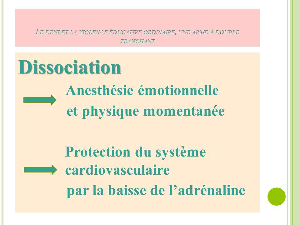 L E DÉNI ET LA VIOLENCE ÉDUCATIVE ORDINAIRE, UNE ARME À DOUBLE TRANCHANT Dissociation Anesthésie émotionnelle et physique momentanée Protection du système cardiovasculaire par la baisse de ladrénaline