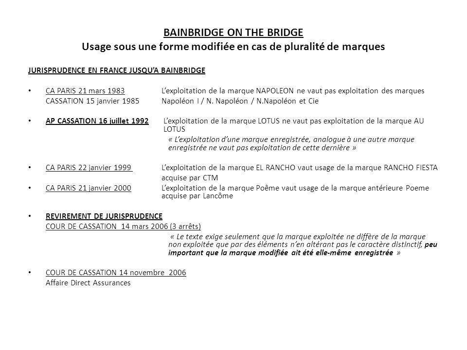 JURISPRUDENCE EN FRANCE JUSQUA BAINBRIDGE CA PARIS 21 mars 1983Lexploitation de la marque NAPOLEON ne vaut pas exploitation des marques CASSATION 15 j