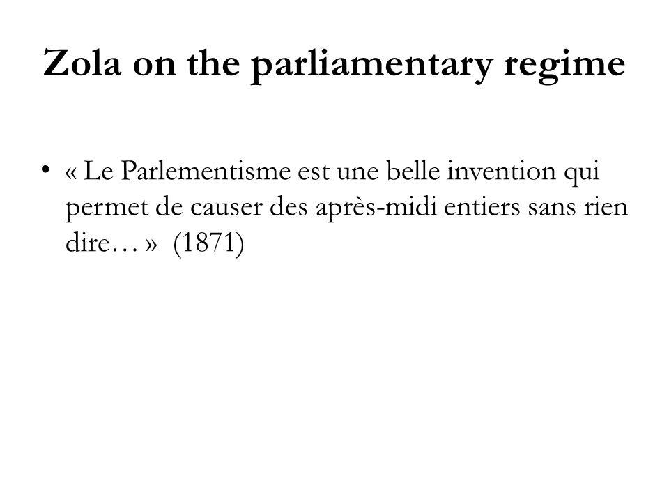 Zola on the parliamentary regime « Le Parlementisme est une belle invention qui permet de causer des après-midi entiers sans rien dire… » (1871)