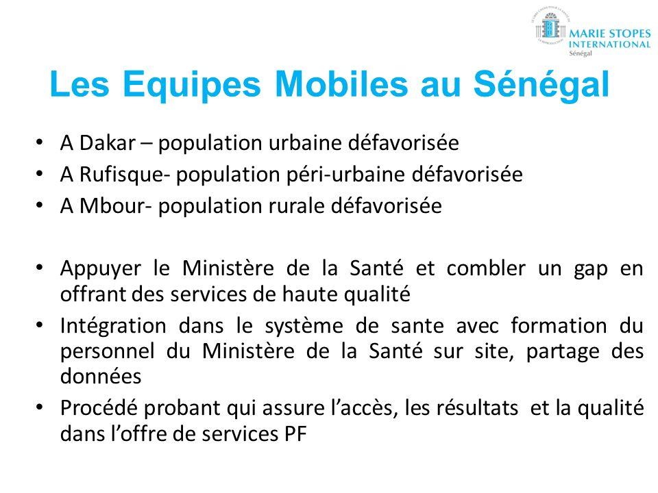 Les Equipes Mobiles au Sénégal A Dakar – population urbaine défavorisée A Rufisque- population péri-urbaine défavorisée A Mbour- population rurale déf