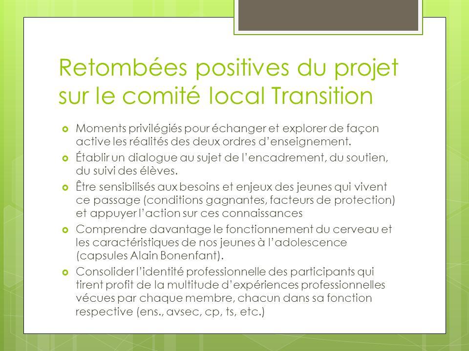 Retombées positives du projet sur le comité local Transition Moments privilégiés pour échanger et explorer de façon active les réalités des deux ordres denseignement.