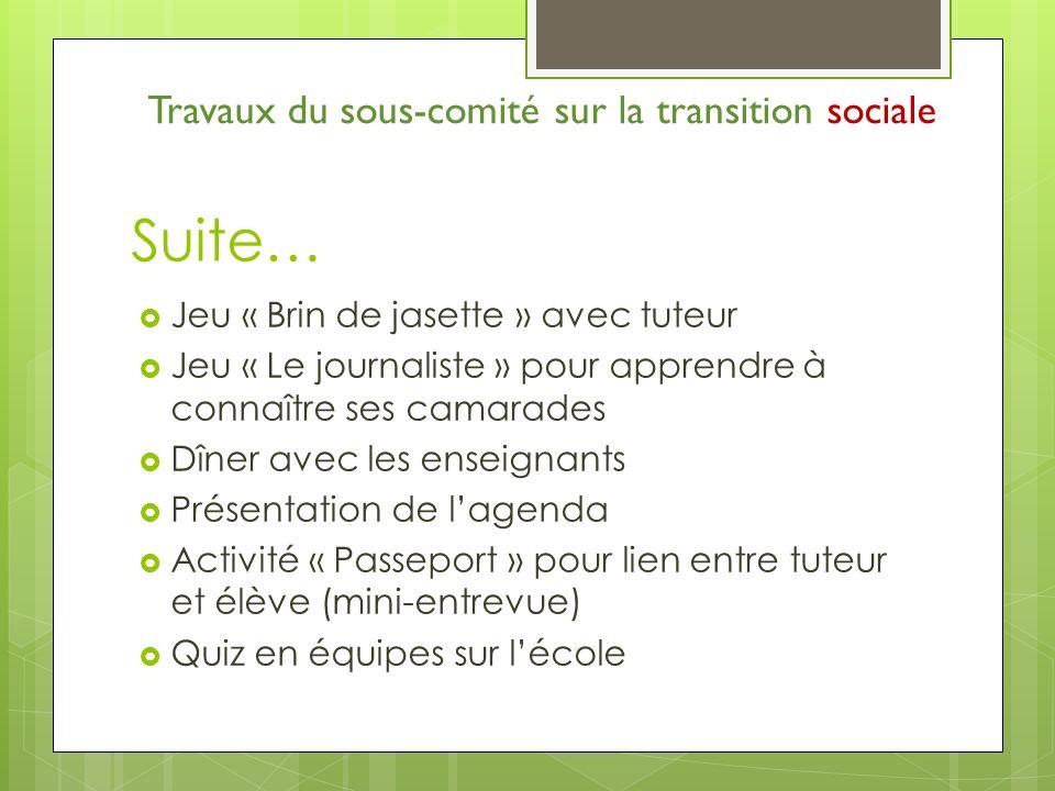 Suite… Jeu « Brin de jasette » avec tuteur Jeu « Le journaliste » pour apprendre à connaître ses camarades Dîner avec les enseignants Présentation de