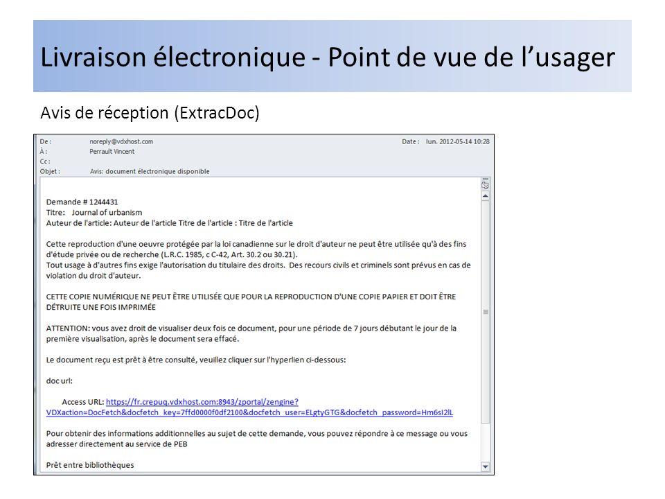 Livraison électronique - Point de vue de lusager Avis de réception (ExtracDoc)