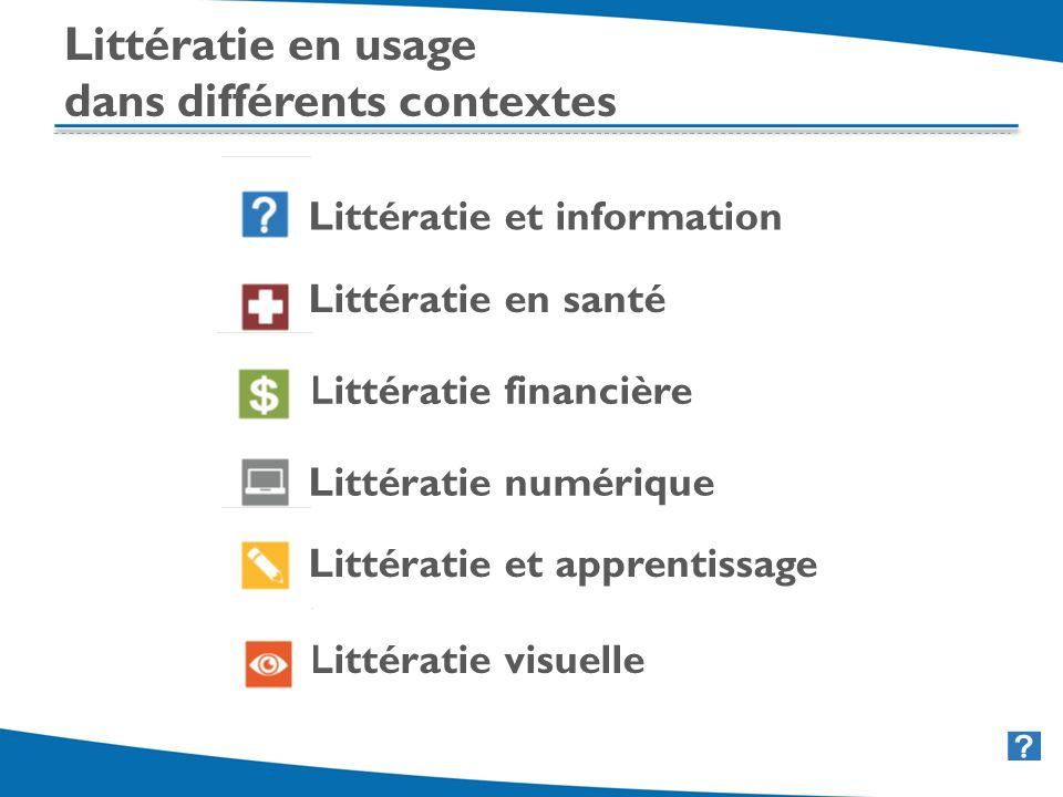 10 Littératie et information Littératie en santé Littératie financière Littératie numérique Littératie et apprentissage Littératie visuelle Littératie en usage dans différents contextes