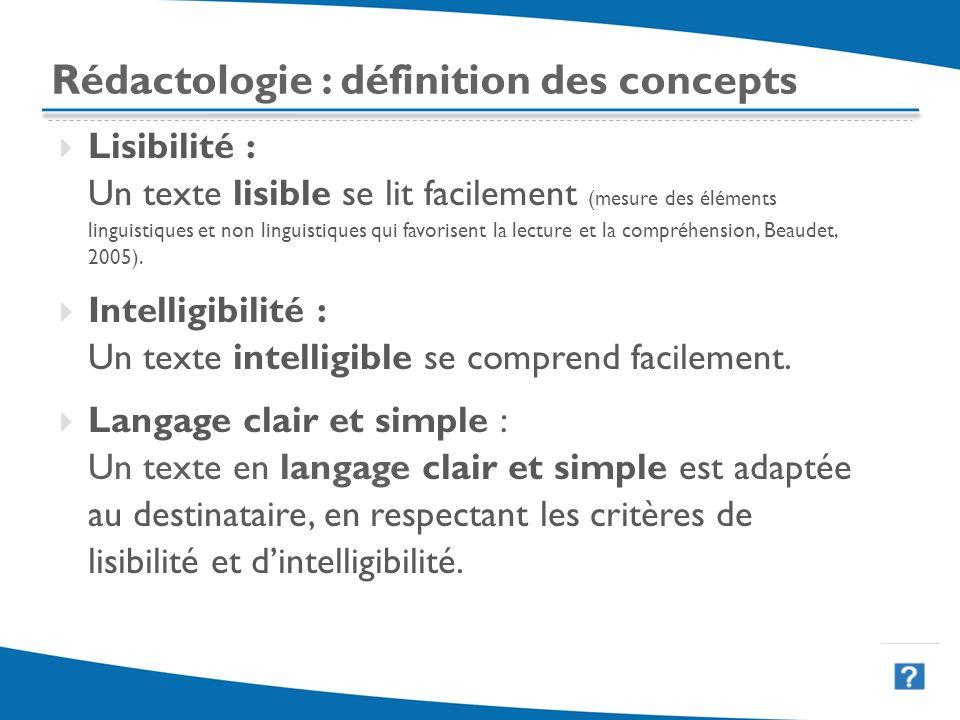 19 Rédactologie : définition des concepts Lisibilité : Un texte lisible se lit facilement (mesure des éléments linguistiques et non linguistiques qui