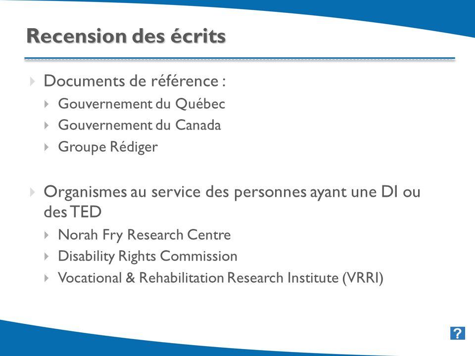 25 Documents de référence : Gouvernement du Québec Gouvernement du Canada Groupe Rédiger Organismes au service des personnes ayant une DI ou des TED N