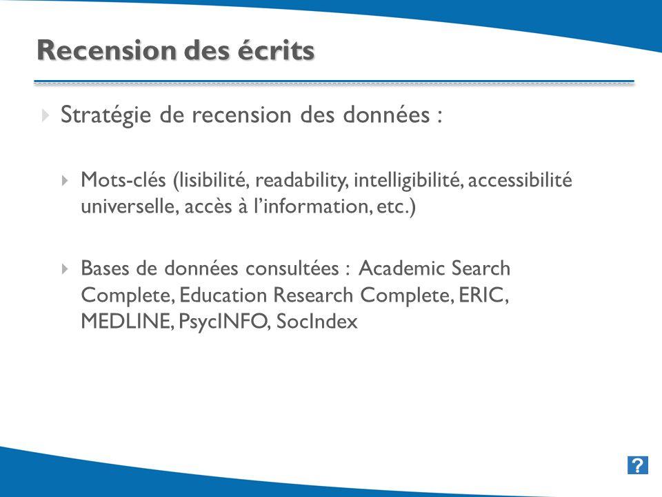 26 Stratégie de recension des données : Mots-clés (lisibilité, readability, intelligibilité, accessibilité universelle, accès à linformation, etc.) Ba