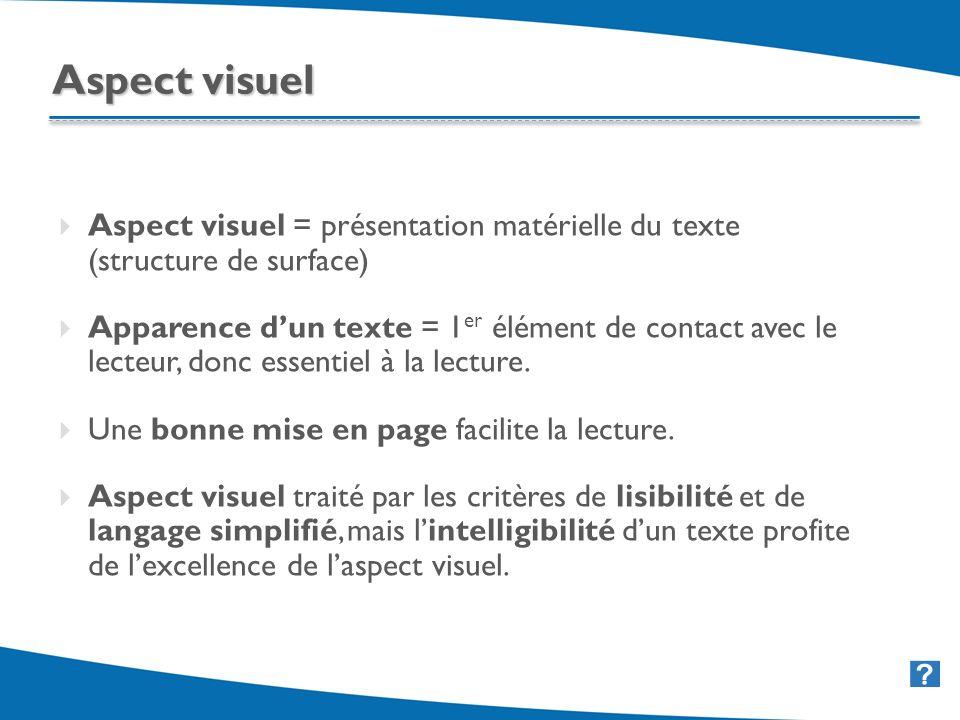 29 Aspect visuel = présentation matérielle du texte (structure de surface) Apparence dun texte = 1 er élément de contact avec le lecteur, donc essenti