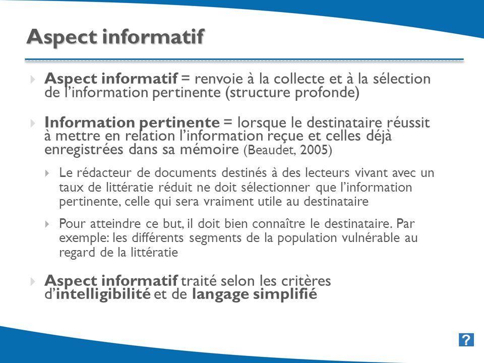 33 Aspect informatif = renvoie à la collecte et à la sélection de linformation pertinente (structure profonde) Information pertinente = lorsque le des