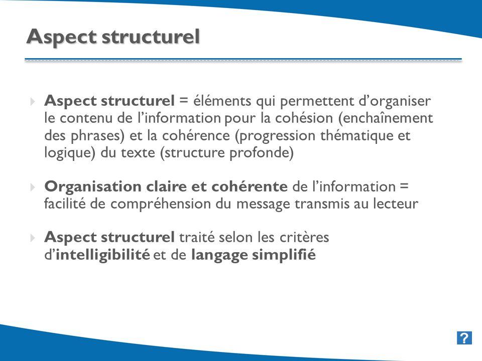 35 Aspect structurel = éléments qui permettent dorganiser le contenu de linformation pour la cohésion (enchaînement des phrases) et la cohérence (progression thématique et logique) du texte (structure profonde) Organisation claire et cohérente de linformation = facilité de compréhension du message transmis au lecteur Aspect structurel traité selon les critères dintelligibilité et de langage simplifié Aspect structurel