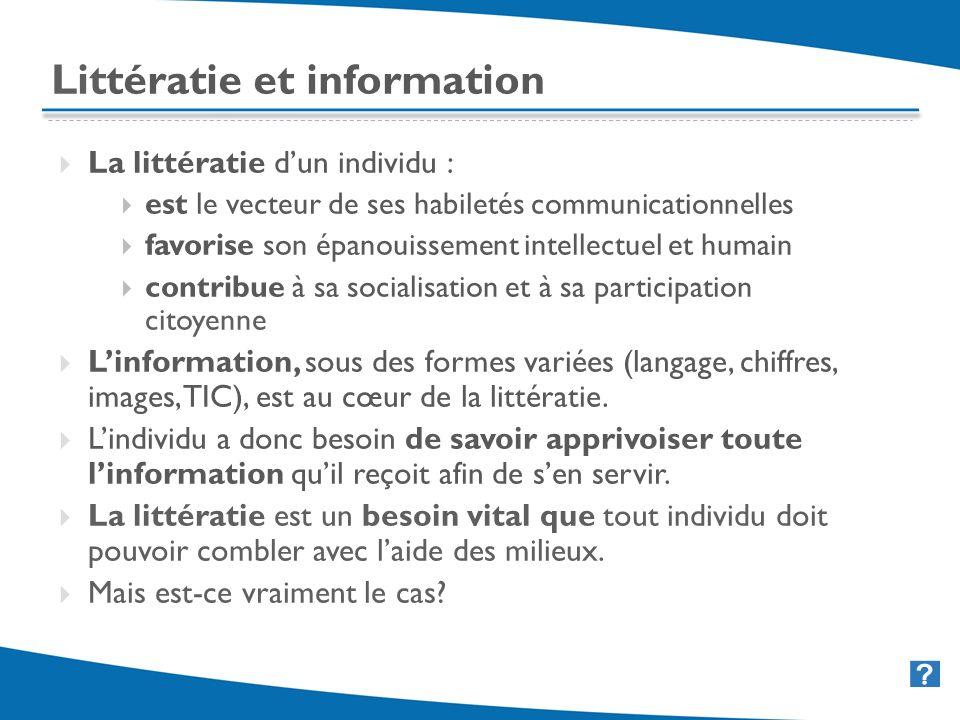 4 Littératie et information La littératie dun individu : est le vecteur de ses habiletés communicationnelles favorise son épanouissement intellectuel