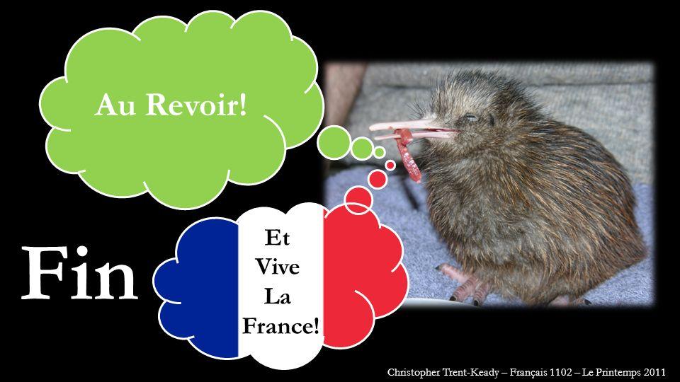 Fin Au Revoir! Et Vive La France! Christopher Trent-Keady – Français 1102 – Le Printemps 2011