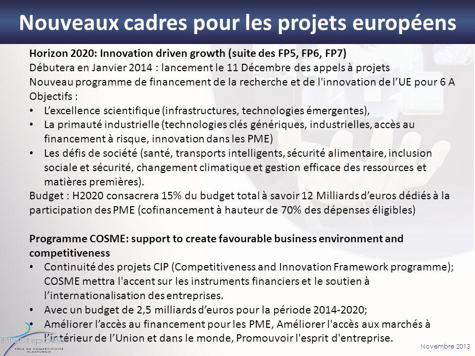 Novembre 2013 10 Horizon 2020: Innovation driven growth (suite des FP5, FP6, FP7) Débutera en Janvier 2014 : lancement le 11 Décembre des appels à pro