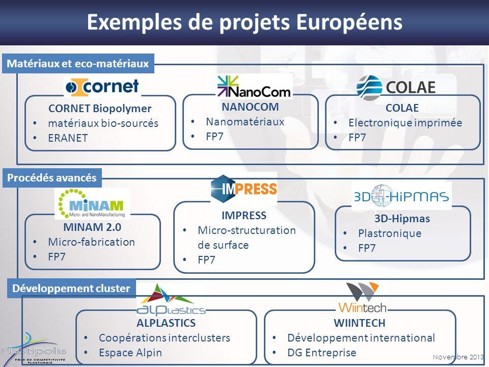 Novembre 2013 Exemples de projets Européens MINAM 2.0 Micro-fabrication FP7 CORNET Biopolymer matériaux bio-sourcés ERANET NANOCOM Nanomatériaux FP7 3