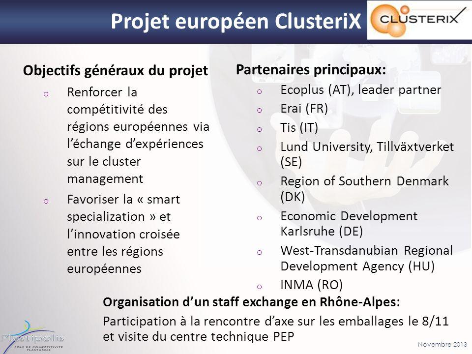 Novembre 2013 Projet européen ClusteriX Partenaires principaux: o Ecoplus (AT), leader partner o Erai (FR) o Tis (IT) o Lund University, Tillväxtverke
